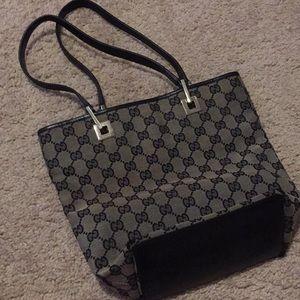 Authentic vintage Gucci handbag gray and black